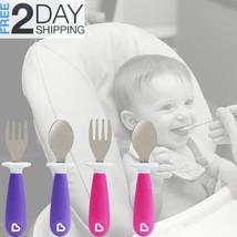 Baby Utensils 4Pcs Fork/Spoon Cutlery Set BPA Free Plastic Toddler Flatw... - $10.88