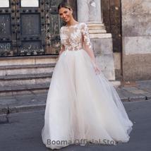 New Elegant Lace on Nude Illusion A-line Fashion Wedding Dress image 3