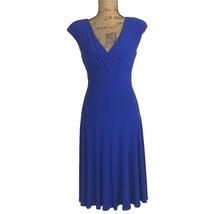 Ralph Lauren Dress 6 Med M Royal Blue Fit Flare Jersey Knit Empire Work ... - $19.95