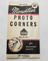 Vintage MOUNTIES Black PHOTO CORNERS for Mounting Photos ~ 98/100 Included - $5.99