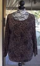 """Crazy Horse Liz Claiborne Women Velour Leopard Print Shirt Sz. 3 58"""" Bust - $15.00"""