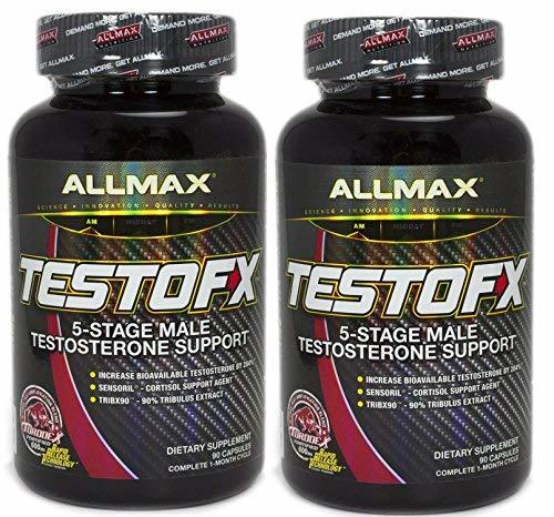 ALLMAX TESTOFX, 5-Stage Male Testosterone Amplifier, 90 Capsules 2 Bottles, 60 D
