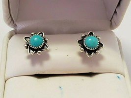 Sterling Silver Navajo Turquoise Post Earrings ~ SIGNED STER - £19.10 GBP