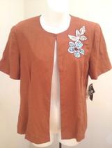 Madison Leigh 10 Jacket Dijon Rust Linen Blend Open Front Short Sleeve - $21.54