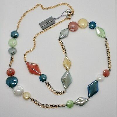 Necklace Antica Murrina Venezia Lampwork Murano Glass Charm Bead Grey Orange