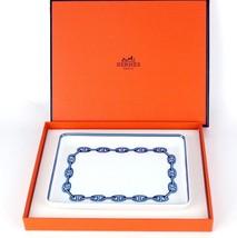 "Authentic HERMES Paris  ""Chaine d'Ancre"" Porcelaine White & Blue Plate with Box - $147.51"