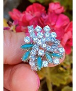 Vintage 18k Gold Retro 3.00ct Emerald Diamond Cluster Ring  - $1,876.05