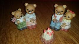 HOMCO 3 Piece Set Bear Family Roasting Hot Dogs & Marshmallows Campfire # 1446  - $23.38