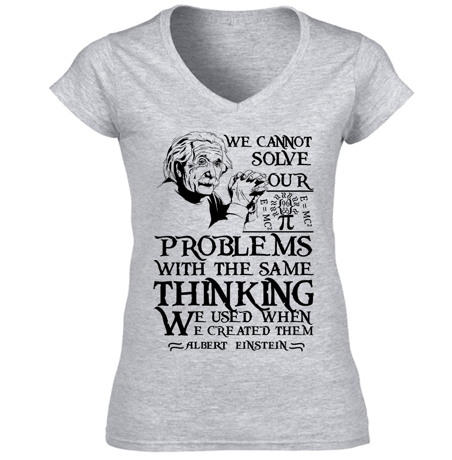 EINSTEIN ALBERT PROBLEMS QUOTE - NEW COTTON GREY TSHIRT S-M-L-XL-XXL