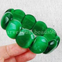 "Free Shipping Fashion Jewelry Malachite Green Opal Beads Stretch Bracelet  7"" FG - $10.38"