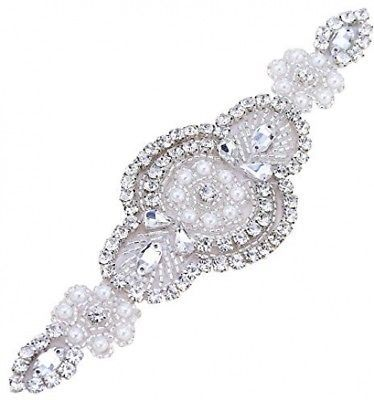 Primary image for  Rhinestone Beaded Applique For Wedding Belt-Bridal Sash Silver Applique With