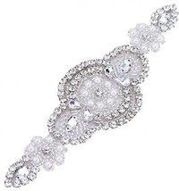 Rhinestone Beaded Applique For Wedding Belt-Bridal Sash Silver Applique... - $22.60