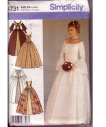 Pattern Bridal Gown Traditional Historic Wedding Dress Simplicity 4731 Sew  - $18.00