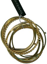 Fancy Signed Bebe Goldtone  Bangle Set  Bracelet p8808-2 - $5.89