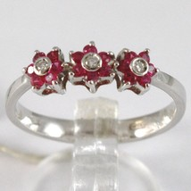 White Gold Ring 750 18k, Trilogy Rosetta, Flowers with Rubies and Diamonds image 1