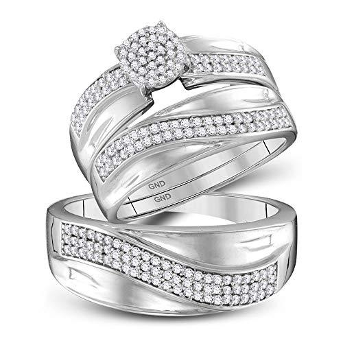 Primary image for The Diamond Deal 10kt White Gold His & Hers Round Diamond Cluster Matching Brida