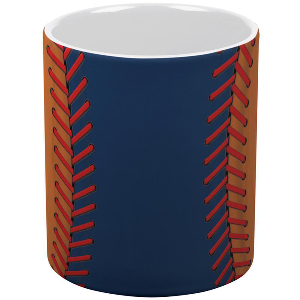 Baseball League Navy Blue and Orange All Over Coffee Mug