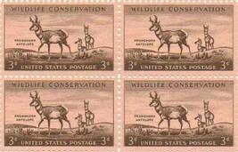 1956 Pronghorn Antelope Block of 4 US Postage Stamps Catalog 1078 MNH