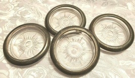 """(4) Vintage Crown Sterling Silver & Glass Coasters Ashtrays Ribbed Rim 3.75"""" Dia"""