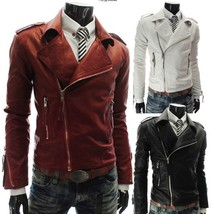 Trendy Men's Fashion Personality More Zippers Turn-down Collar Fur Jacket Clothi - $65.28