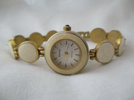 Geneva Ivory Enameled Watch, Bracelet Band, WORKING! - $29.00