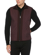 Perry Ellis Big & Tall Ponte Chevron Zip Front Vest, Purple Fig, 2XLT - $64.34