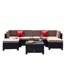 7 PC Patio PE Wicker Furniture Backyard Outdoor Garden Sectional Sofa Se... - $529.99