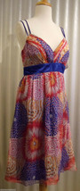 Oleg Cassini 100% Silk Spaphetti Strap Royal Blue Red Party Dress Size 8 $148 - $80.00