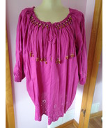 Denim 24/7 Size 24W Pink Top Boho Festival Fringed and Beads 88842 NEW - $34.97