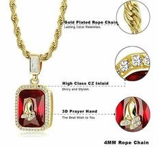 Hip Hop Iced CZ 14K Gold GP Red Ruby Jesus Prayer Hands Pendant Chain Ne... - $9.04