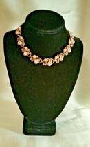 Vintage Trifari Pink Lucite & Rhinestone Pebble Beach Collar Gold Tone Necklace - $49.99