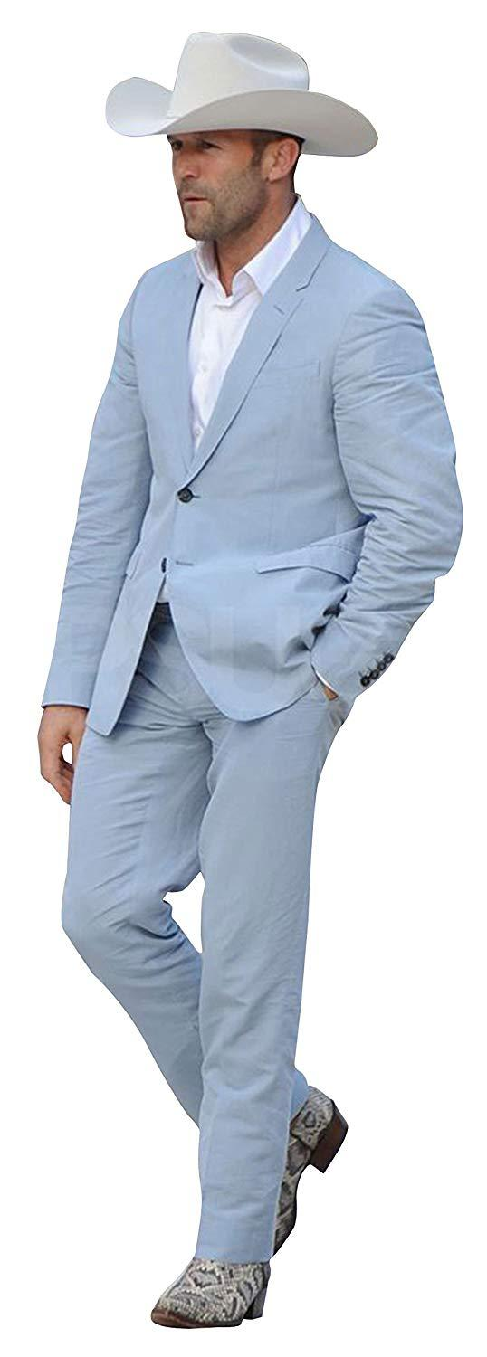 Mens jason statham parker lapel collar sky blue 2 piece suit