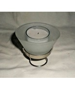 Candle nestles in a frosted glass cone on a furniture-protecting metal f... - $2.96