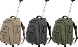 Wheeled Rolling Canvas Travel Backpack - $71.99