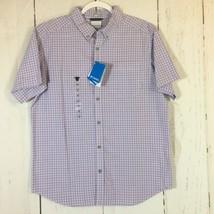 NWT Columbia Men's Size Medium Purple Plaid Button Down Short Sleeve Shirt - $16.40