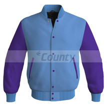 Letterman Baseball College Super Bomber Jacket Sports Sky Blue Purple Satin - $49.98+