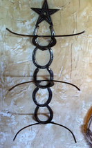 Horseshoe triple cowboy hat holder with Texas star-Western - $80.00