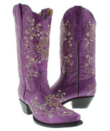 Womens Purple Snake Western Leather Cowgirl Boots Floral Rhinestone Snip... - €143,93 EUR