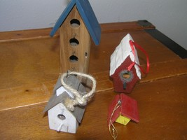 Lot of 4 Painted Wood Birdhouse Tree Ornaments – one handcrafted in Nort... - $12.19