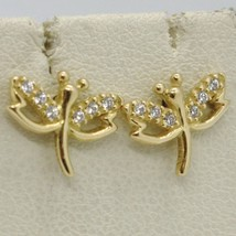 SOLID 18K YELLOW GOLD EARRINGS DRAGONFLY & ZIRCONIA DIAMETER 10 MM MADE IN ITALY image 2