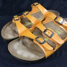 Birkenstock Originals Florida 3 Strap Buckle Slide Sandals Citrine Orange Sz 37 - $65.77