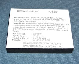 TURNTABLE STYLUS NEEDLE for Fisher MC-715 Nostalgia Record Player 793-D7 image 4