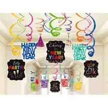 Happy New Year 30 Ct Hanging Swirls Decorations Jewel Tone Asst Colors - $16.14
