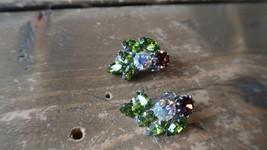 """Vintage Rhinestone Colorful Clip Earrings 1"""" - $19.79"""