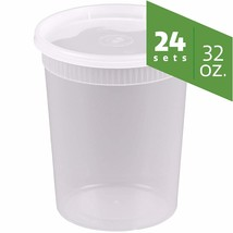 Plastic Deli Food Storage Containers with Airtight Lids 32 oz. - 24 Sets - $17.12