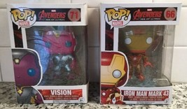 Funko Pop Avengers Age Of Ultron: Vision #71 Ironman Mark 43 #04 LOT - $23.27