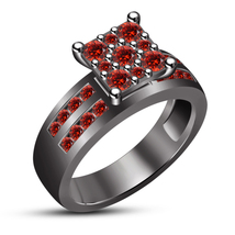 Round Cut Red Garnet 14k Black Gold Plated 925 Silver Solitaire W/ Accen... - $99.60