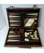 Vintage Backgammon Set in Brown Faux Leather Travel Folding Case  - Comp... - $42.07