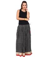 Black & White kite Jaipuri Skirt with Golden Border - SNY18228 - $25.75