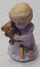 Enesco Figurine Age 1 Birthday Girl Growing Up 1981 Blonde Pink Dress Vintage - $9.85